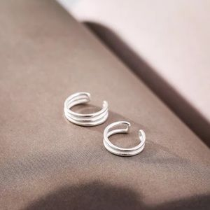 925 sterling Silver double layer cuff earring